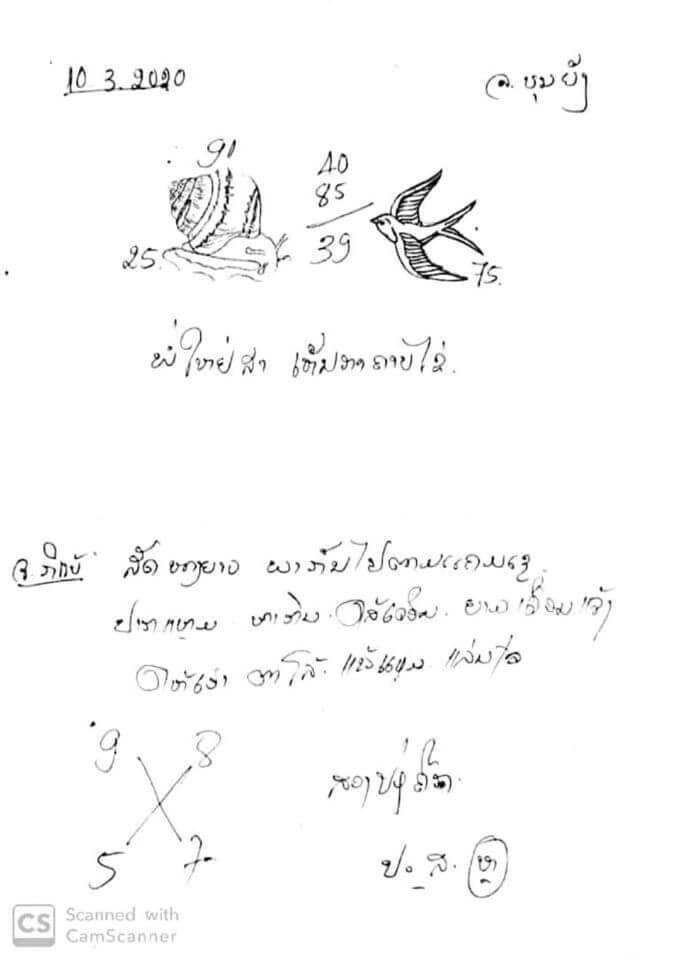 แนวทางหวยฮานอย 10/3/63 ชุดที่9