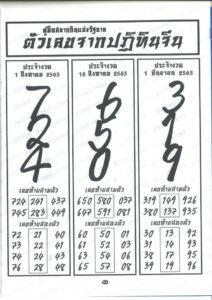 ผลงานหวยปฏิทินจีน 1/9/63