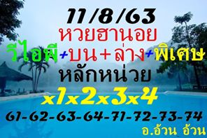 แนวทางหวยฮานอย 11/8/63 ชุดที่15