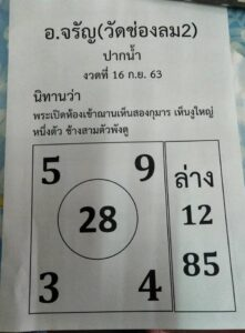 หวยอาจารย์จรัญ 16/9/63