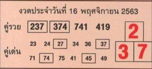 หวยคู่รวย คู่เด่น 16/11/63
