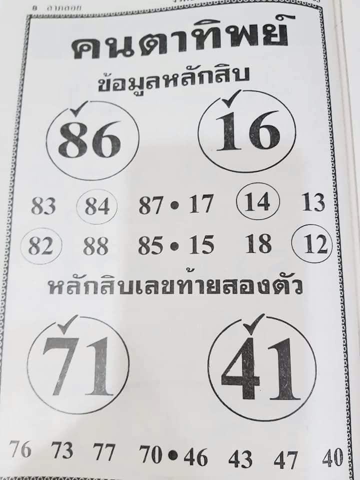 หวยคนตาทิพย์ 30/12/63