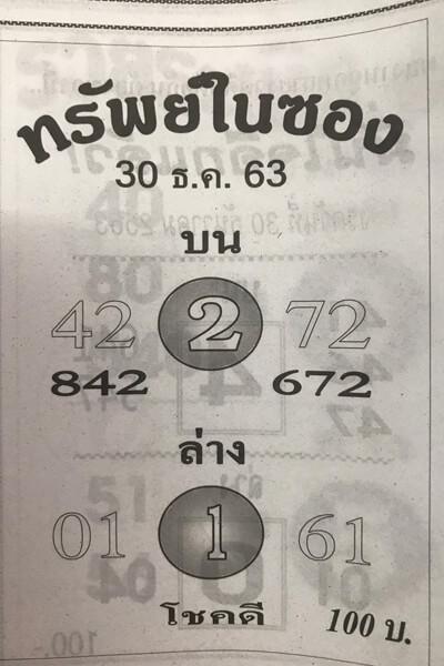 หวยทรัพย์ในซอง 30/12/63