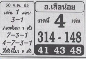 หวยอาจารย์เสือน้อย 30/12/63