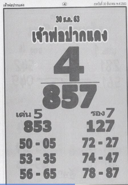 หวยเจ้าพ่อปากแดง งวด 30/12/63