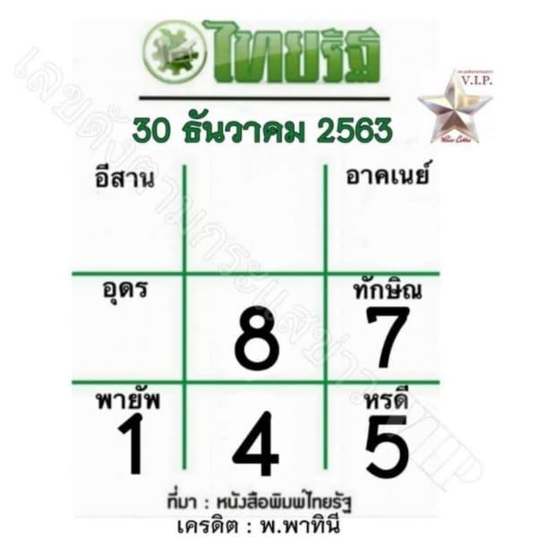 หวยไทยรัฐ 30/12/63