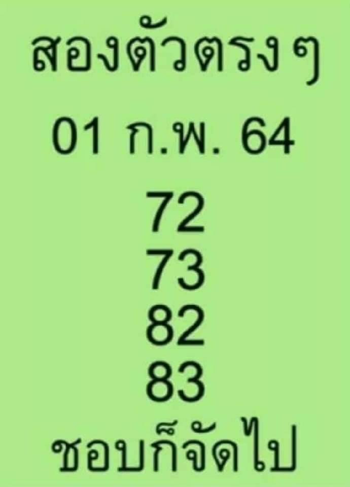 หวยสองตัวตรงๆ 1/2/64