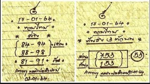 หวยหลวงพ่อเงิน 17/1/64