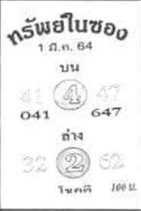 หวยทรัพย์ในซอง 1/3/64