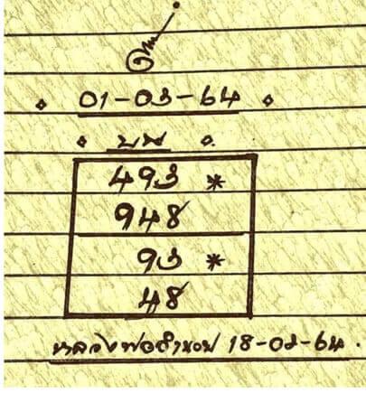หวยหลวงพ่อเงิน 1/3/64