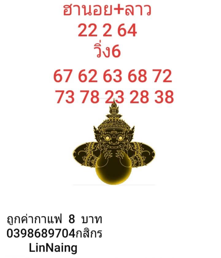 หวยฮานอยวันนี้ 22/2/64 ชุดที่9