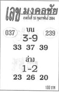 หวยเลขมงคลชัย 16/2/64