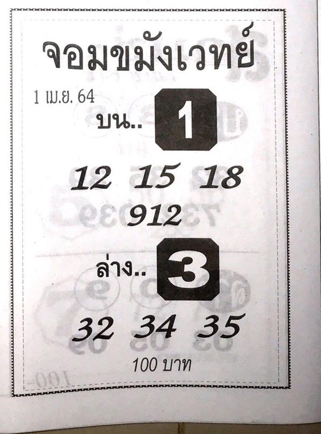 หวยจอมขมังเวทย์ 1/4/64