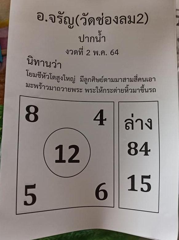 หวยอาจารย์จรัญ 2/5/64