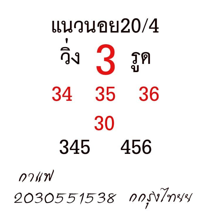 แนวทางหวยฮานอย 20/4/64 ชุดที่2
