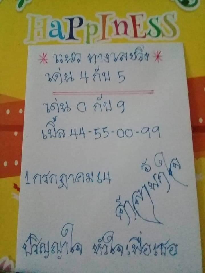 หวยศาลาพักใจ 1/7/64