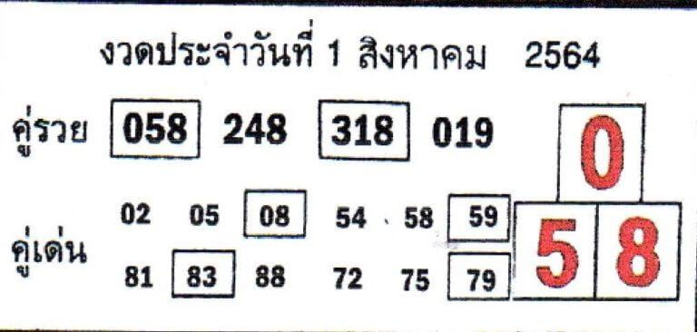 หวยคู่รวย คู่เด่น 1/8/64