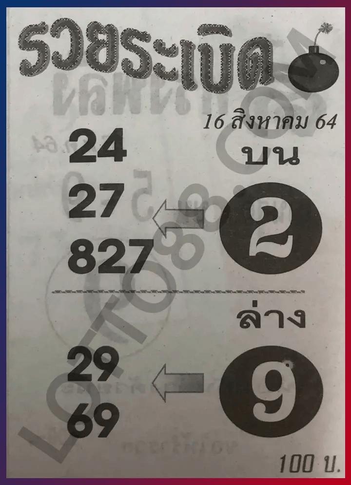 หวยรวยระเบิด 16/8/64