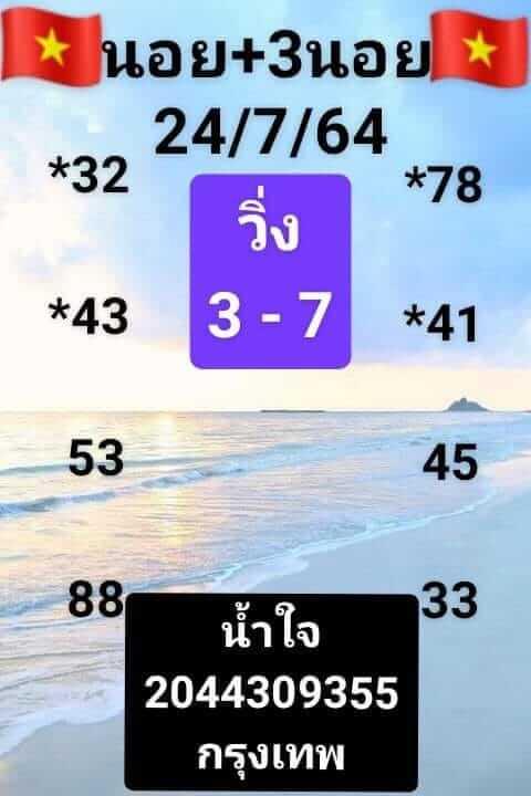 แนวทางหวยฮานอย 24/7/64 ชุดที่1