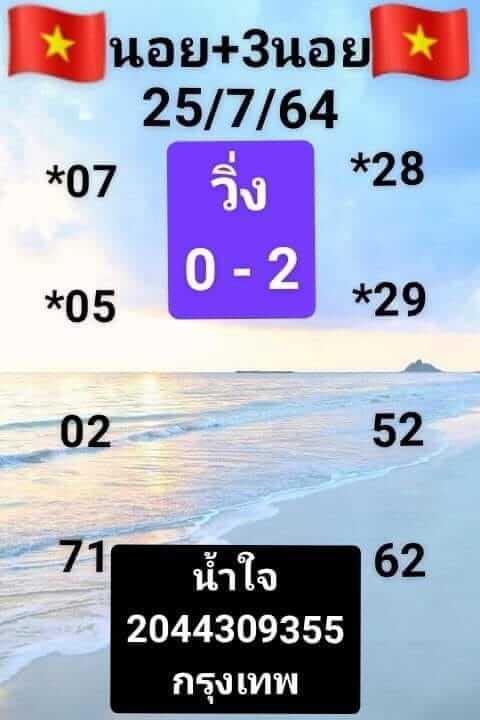 แนวทางหวยฮานอย 25/7/64 ชุดที่1