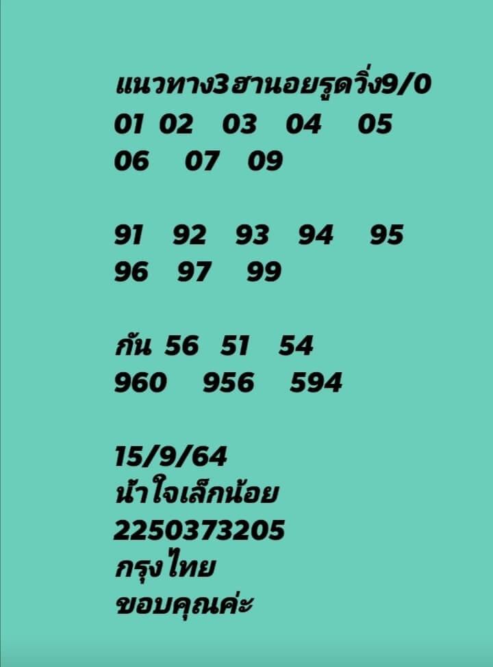 แนวทางหวยฮานอย15/9/64 ชุดที่ 7