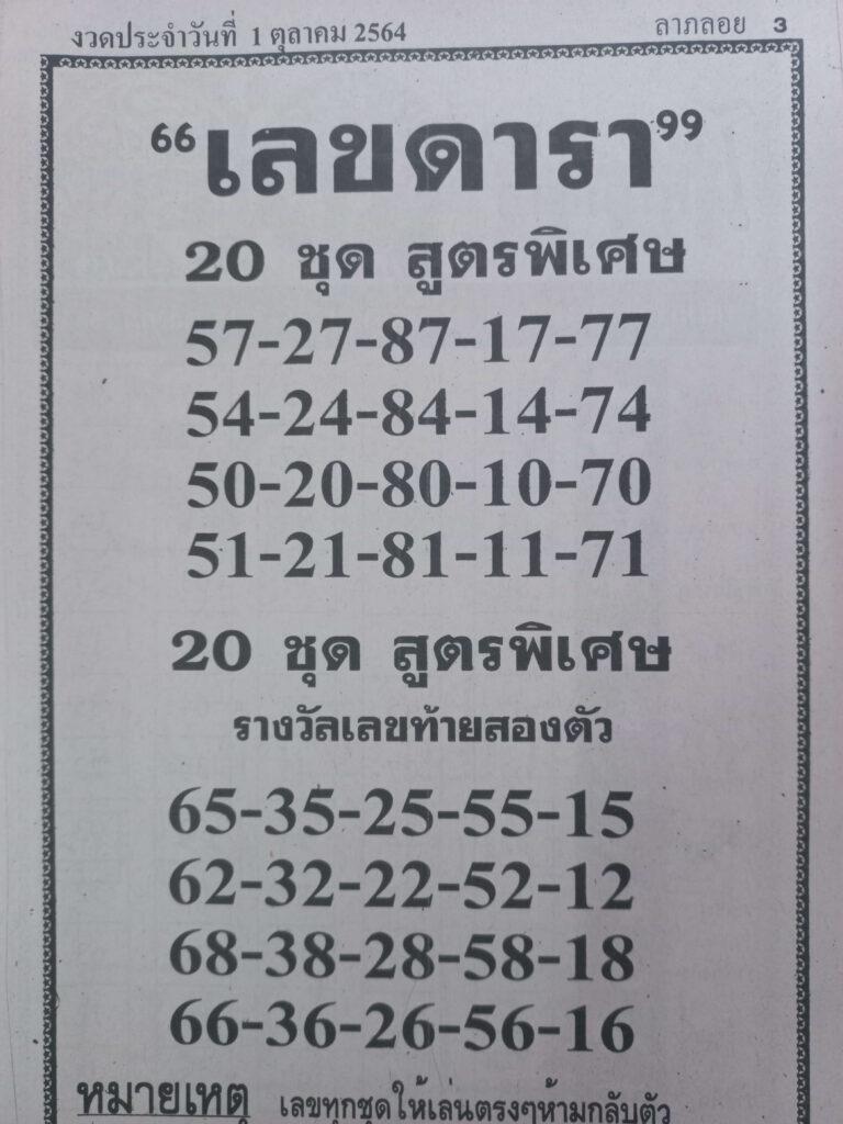 หวยเลขดารา1/10/64